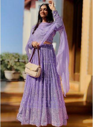 Lilac Color Georgette Base With Heavy Work Designer Flared Lehenga Choli