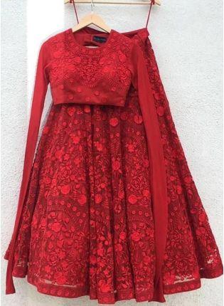 Shop Sensational Ruby Red Georgette Base Resham Work Lehenga Choli