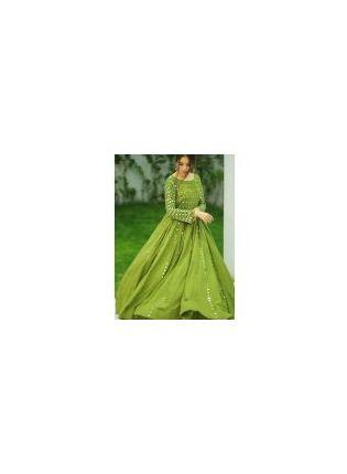 Shop Phenomenal Olive Green Cotton Base Designer Gown