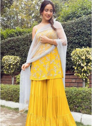 Trendy Yellow Color Sharara Suit