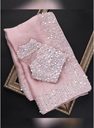 Pink Festive Embroidered Saree With Moti Details