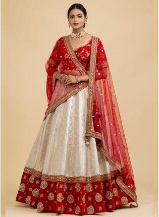 girl in Graceful White Flared Lehenga Choli Set