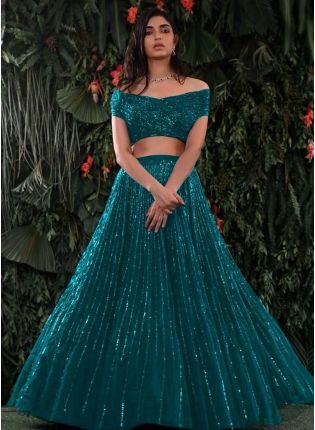 Fairy Look Turquoise Color Sequins Work Lehenga Choli