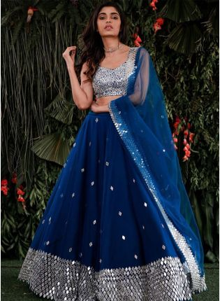 Royal Look Blue Color Mirror Work Lehenga Choli