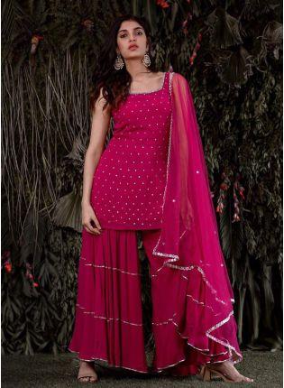 girl in Pink Georgette Sharar Salwar Suit