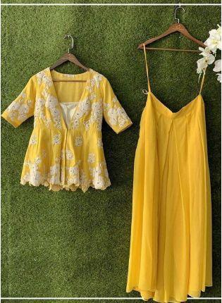 Sunshine Yellow Color Georgette Base Designer Long Choli With Lehenga Set