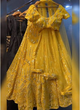 Angelic Yellow Mirror Work Georgette Lehenga Choli Set