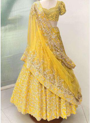 Eye-Captivating Yellow Color Banglori Silk Base Lehenga Choli