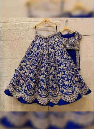 Bright Blue Color Art Silk Base With Sequins And Zari Work Base Flared Lehenga Choli