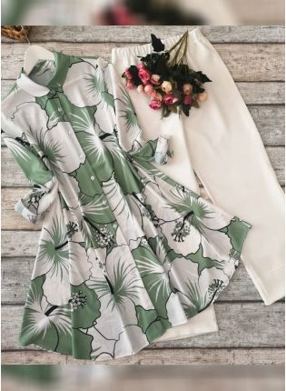 Splendid Designer Olive Green And White Printed Crep Silk Base Pant Style Suit