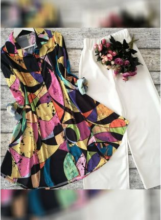 Shop Designer Multi Color Printed Crep Silk Base Top With Pant Suit
