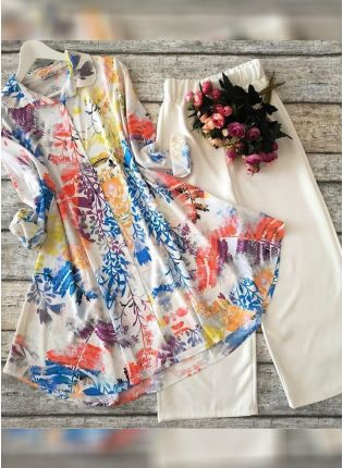 Trendy Designer Multi Color Heavy Printed Silk Base Top With Pant Suit