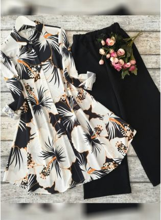 Stylish Black And White Floral Printed Crep Silk Base Suit