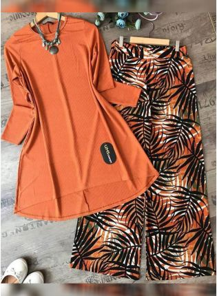 Top Buy This Designer Orange Color Crep Silk Base Top With Pant Suit