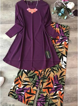 Trendy Buy This Designer purple Color Crep Silk Base Top With Pant Suit
