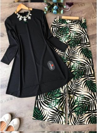 Top Buy This Designer Black Color Crep Silk Base Top With Pant Suit
