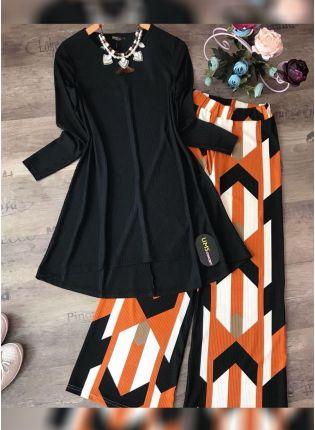 Best Designer Black Color Crep Silk Base Top With Pant Suit