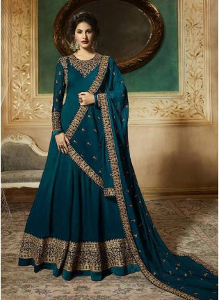 Buy Georgette Base Turquoise Blue Heavy Embroidery Work Anarkali Suit