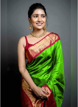 Traditional Look Green Color Art Silk Base Wedding Wear Saree With Contrast Blouse