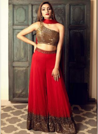 Trendy Red Color Georgetta Base Sequins Work  Palazzo Salwar Suit