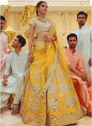 Royal Yellow Mirror Work Lehenga Choli