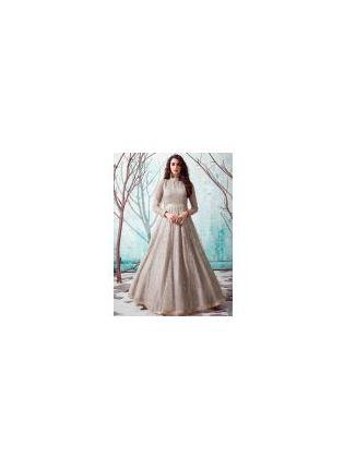Beige Color Net Base Party Wear Designer Gown
