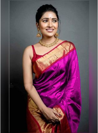 Traditional Look Pink Color Art Silk Base Wedding Wear Saree With Contrast Blouse