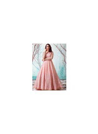 Pink Color Net Base Party Wear Designer Gowns