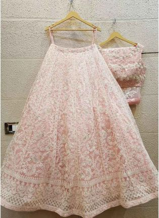 Iconic Blush Pink Color Georgette Base Lakhnavi Work Lehenga Choli