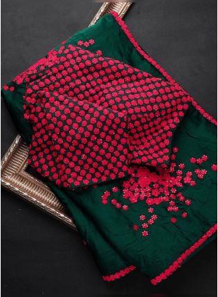 Fantastic Green saree With Beautiful Reshma Work