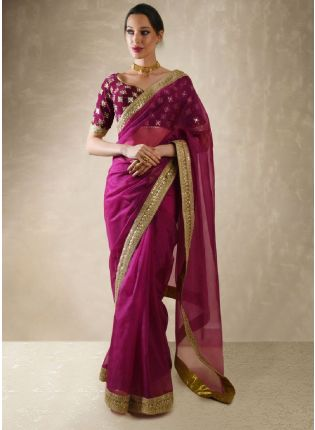 Purple Color Sequins And Moti Work Embroidery Saree