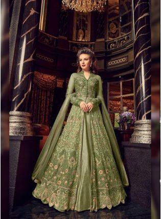 Top Exceptional Pista Green Soft Net Base Slit Cut Designer Anarkali Suit