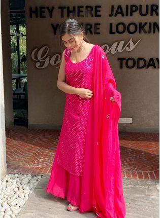Resplendent Pink Color Mirror Work Palazzo Salwar Suit