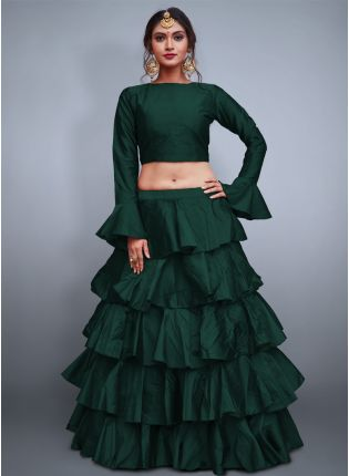 Iconic Dark Green Taffeta Silk Base Ruffle Lehenga Skirt With Crop Top