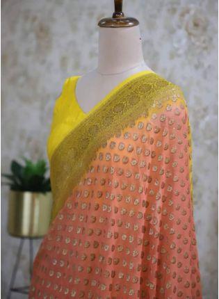 Traditional Look Peach Color Silk Base Saree