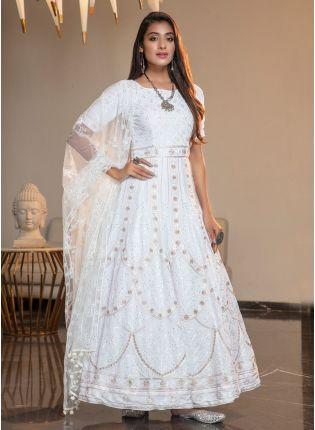 White Resham Stonework Georgette Ankarkali Salwar Suit