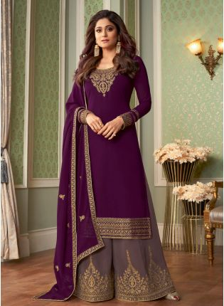 Classy Look Wine Color Georgette Base Wedding Wear Sharara Suit