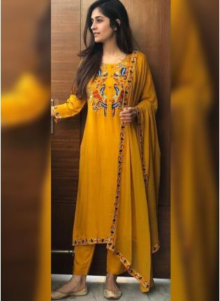 Shop Charming Turmeric Yellow Rayon Base Designer Salwar Suit