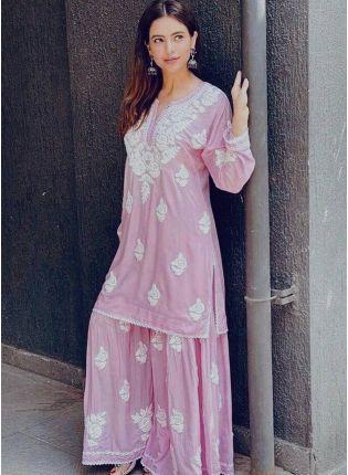 Shop Charming Barbie Pink Crepe Base Resham Work Salwar Suit