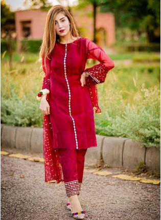 Shop Delightful Dark Red Georgette Base Embroidered Pant Style Suit
