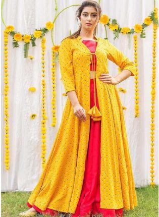 Dramatic Red and Yellow Jacket Style Lehenga