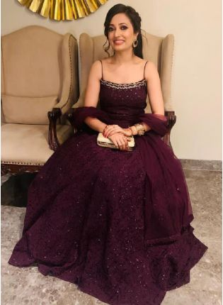 Elegant Wine Color Georgette Base Embroidered Gown