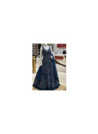 Ravishing Navy Blue Color Heavy Embroidery Work Base Designer Gown