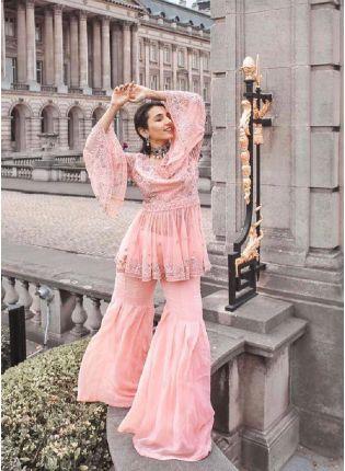 Decent Look Peach Color Georgette Fabric Party Wear Sharara Salwar Suit