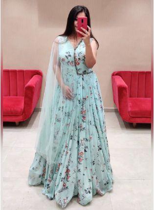 Trendy Sky Blue Color Georgette Base Printed Anarkali Suit