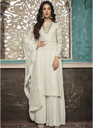 Shop White Straight Fit Party Wear Ethnic Pallazo Salwar Suit