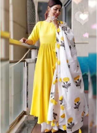 Affordable Lemon Yellow Color Party Wear Designer Reyon Base Palazzo Suit