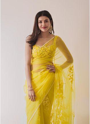 Charming Yellow Color Soft Net Base Bollywood Saree