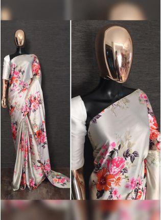 Shop Phenomenal Off-White Satin Base Digital Printed Saree