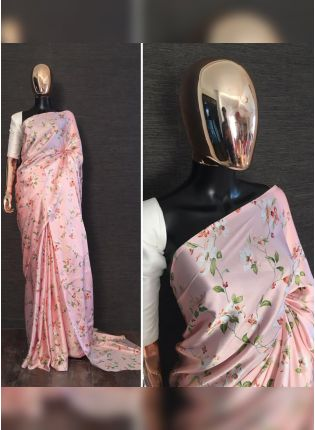 Shop Majestic Light Pink Satin Base Digital Printed Designer Saree